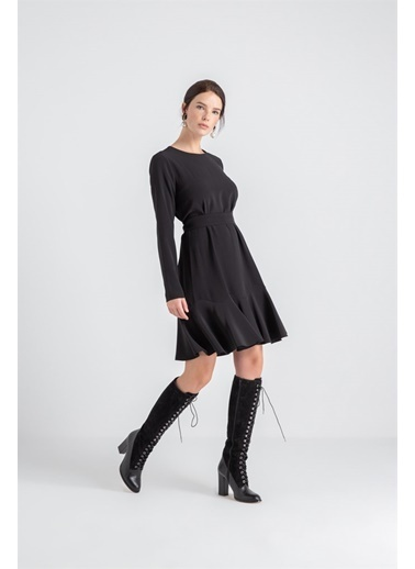 Rue Kemer Detaylı Volanlı Elbise Siyah